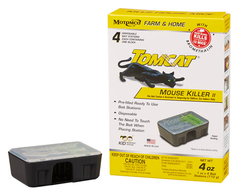 Tomcat Pre-Filled Disposable Mouse Bait Station - 4 Pack