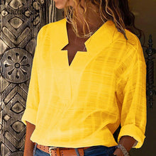 Load image into Gallery viewer, Cotton Yellow Loose Blouse