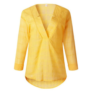 Cotton Yellow Loose Blouse