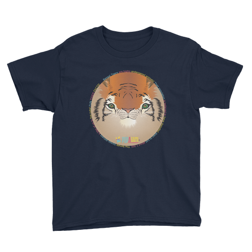 Childrens Tee Shirt bengal tiger print blue