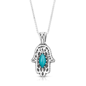 Sterling Silver Hamsa Pendant with Turquoise Stone -Ben Porat Yosef
