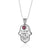 Sterling Silver Hamsa Necklace, Priestly Blessing, with Garnet Stone