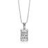 Sterling Silver Spinning Cylinder Necklace with Shema Israel Inlaid with white Cubic Zirconia stones