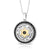925 Sterling Silver & 9K Gold Circular Star of David and Shema Yisrael Pendant with Onyx Stones