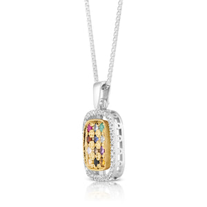 "925 Sterling Silver & 9K Gold Hoshen ""Twelve Tribes"" Pendant with Colorful Zircon Stones & Diamond"