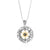 Sterling Silver Disk Pendant with 9K Gold Star of David, Onyx and Cubic Zirconia - Traveller's Blessing
