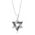 925 Sterling Silver Star of David Pendant with Black & White Zircon Stones