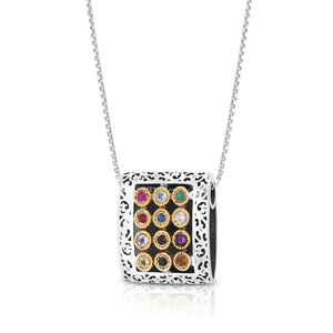 "925 Sterling Silver & 9K Gold Hoshen ""Twelve Tribes"" Pendant with Priestly Blessing and Filigree Pattern"