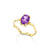 14K Gold Oval Cut, wavy design, gold dainty Solitaire Ring with Genuine Amethyst made in your ring size,Purple gold ring