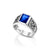 Sterling Silver and Royal Blue Zircon, Men's Star of David College Ring - RectangleRoyal Blue Zircon
