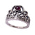 Sterling Silver Rabot Banot Crown Ring with Garnet
