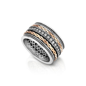 Deluxe Spinning Silver and 9K Twisted Rope, Gold Ring with Cubic Zirconia for women, Meditation ring, Anti Stress Ring
