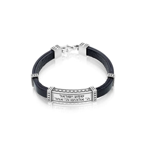 Shema Israel: Silver and Leather Bracelet with Stars of David - Choice of Colors Black Leather Men's Bracelet