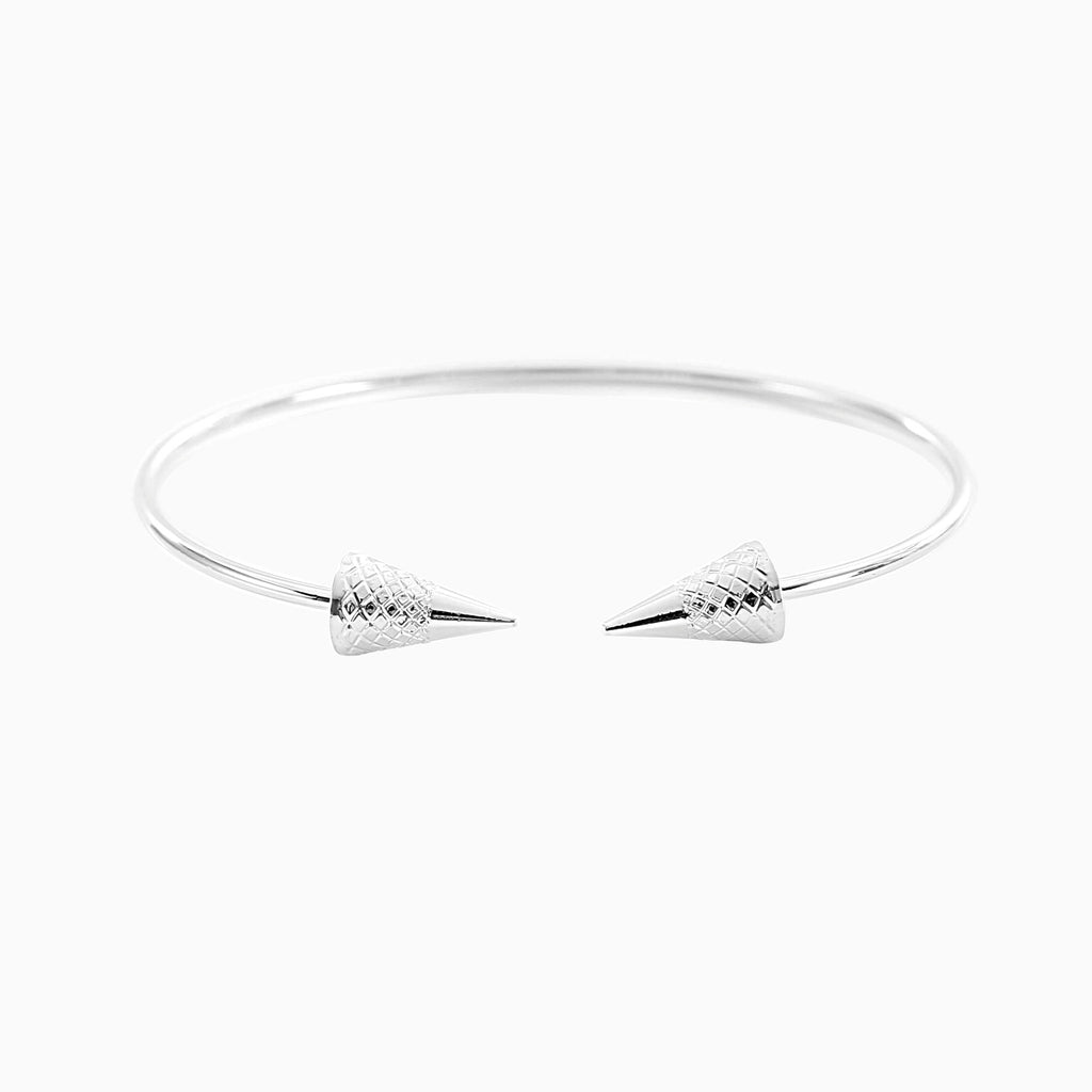 Double Arrow Silver Torque Bracelet