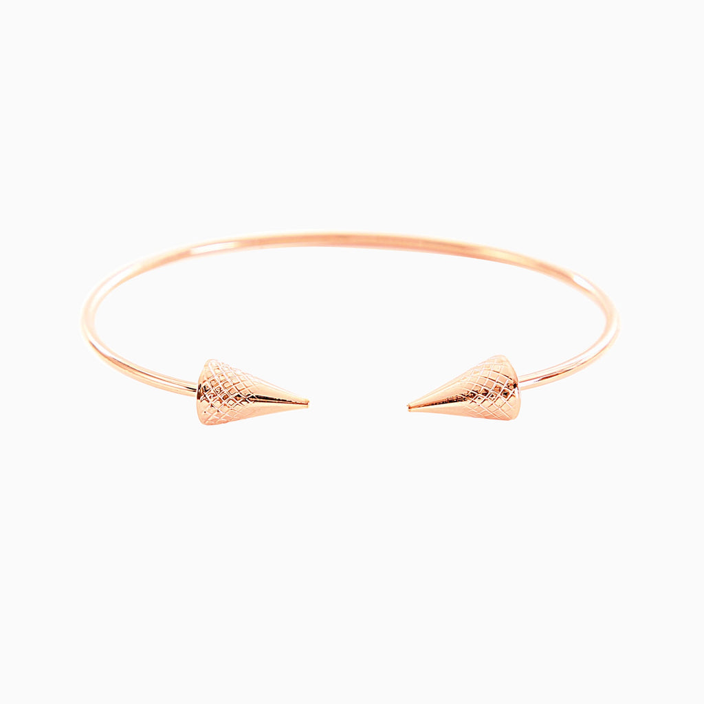 Double Arrow Rose Gold Torque Bracelet