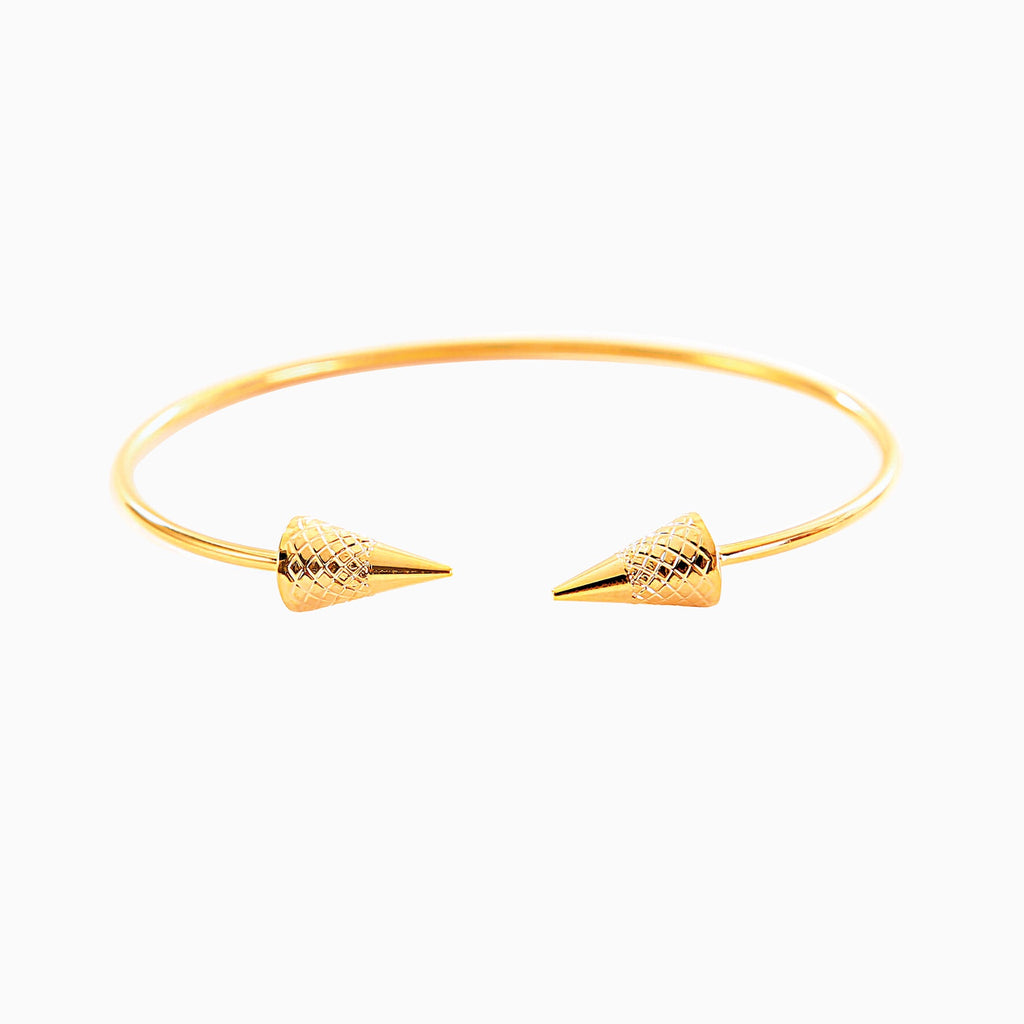 Double Arrow Gold Torque Bracelet
