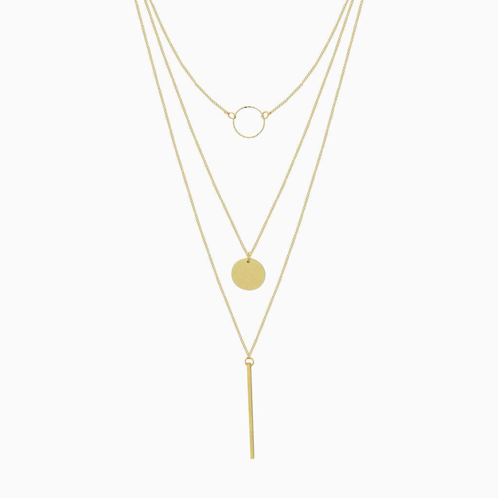 Circles & Ingot Gold Layered Necklace