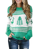 Womens Grey Long Sleeve Ugly Christmas Tree Reindeer Winter Holiday Knit Sweater