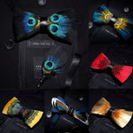 Mens Feather Brooch Bowtie Set Gift