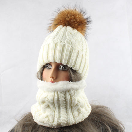 Women Hat Big Pom-Pom With Scarf Warm Fleece Knitted