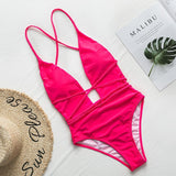 Halter Neon Bikini V-neck Bathing Suit