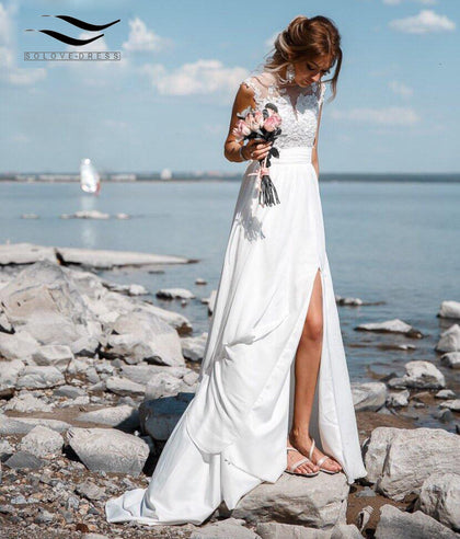 Side Slit V-Back Lace Wedding Dress Beach Gown