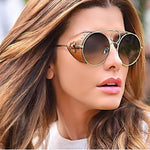 Celebrity Round Leather Rivet Punk Sunglasses