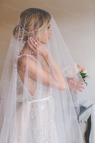 Crystals Bridal White Ivory Long Wedding Lace Veil