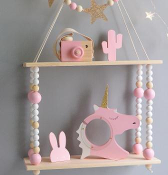 Kids Room Wooden Wall Hanging Shelf Nordic Decor