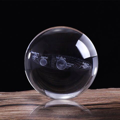 3D Solar System Crystal Ball Planets Glass Globe