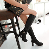 Black Brown Women High Thick Heel Knee Boots Buckle Fur Warm Fashion Tall Shoe