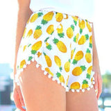 Sunflower Pineapple Feather Casual High Waist Shorts