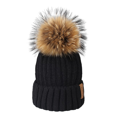 Womens Fur PomPom Beanie Knitted Hat