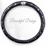 Leather Crown Car Steering Wheel Cover