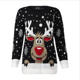 Women Christmas Deer Warm Knitted Long Sleeve Ugly Sweater O-Neck Casual