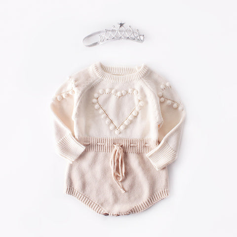 Knitted Baby Romper Long Sleeve Pompom Jumpsuit Onesie