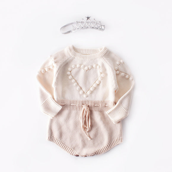 Knitted Baby Romper Newborn Clothes Long Sleeve Pompom Infant Girl Jumpsuit Onesie Overalls