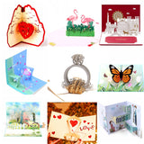 Wedding Valentines Engagement Birthday Animals 3D Pop Up Cards
