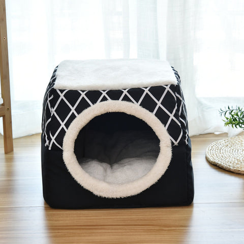 Soft Pet House Bed For Dog Cats Black Gray