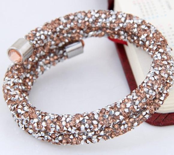 Double Single Wrap Crystal Cuff Bracelet Bangles Women Jewelry Silver Color Sparkle