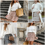Womens Elegant Pompon White Sweater Lantern Sleeve Knitted Pullover