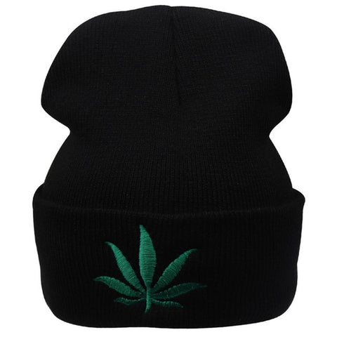Winter Weed Leaf Beanie Hat Punk Cap Skullies