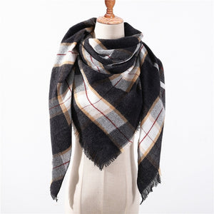 39 COLORS Women Triangle Scarf Plaid Solid Warm Cashmere Scarves Shawl Wrap Blanket