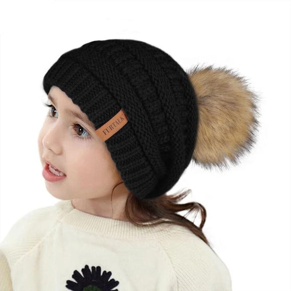 Kids Girls Winter Hat Pompom Children Velvet Beanie Knitted Warm Cap 2-10 Years