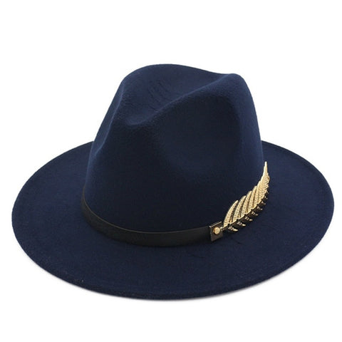 Winter Fedora Hat Leaf British Style Retro Jazz