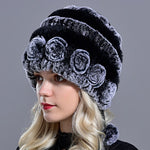 Floral Knitted Winter Hat Beanie