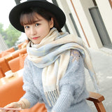 Plaid Wool Scarf Cashmere Scarves Wide Long Shawl Wrap Blanket