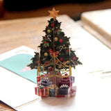 3D Pop Up Christmas Card Tree Greetings Holiday Xmas Postcard