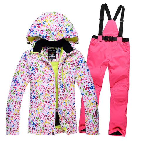Warm Womens Winter Jacket Pants Set Ski Suit