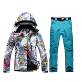 Womens Colorful Ski Suit Winter Jacket Pants
